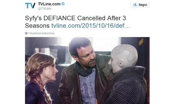 Defiance cancellato