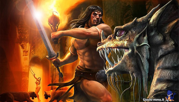 Barbaro Age of Conan e mostro