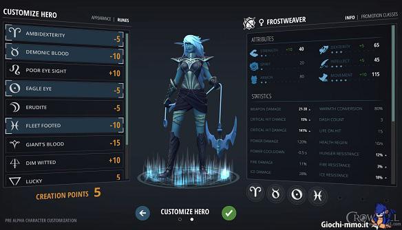 Creazione personaggio Crowfall
