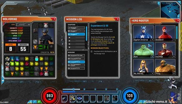 Interfaccia utente Marvel Heroes