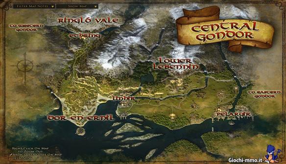 Mappa Gondor LOTRO
