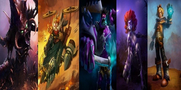 I personaggi di League of Legends: Cho'Gath, Corki, Dr. Mundo, Evelynn e Ezreal