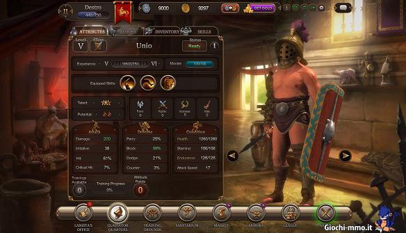 Gestione gladiatore Gladiators Online